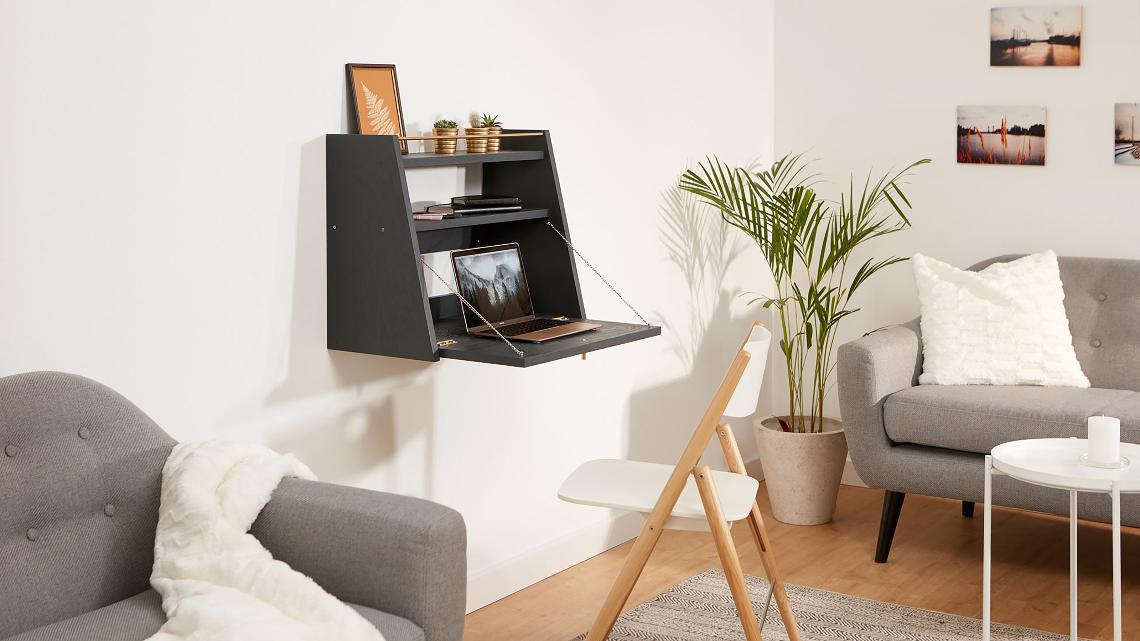 Ideal für kleine Räume: der klappbare Schreibtisch für die ...