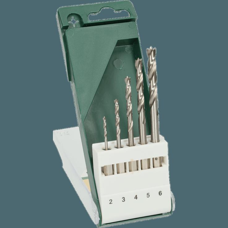 Комплект свредла за дърво с шестостенна опашка от 5 части