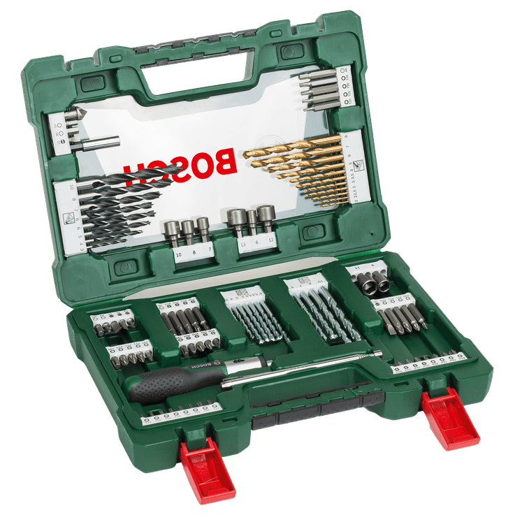 V-Line bor- og skruetrækker bitsæt Titanium med 91 dele med skralde og magnet
