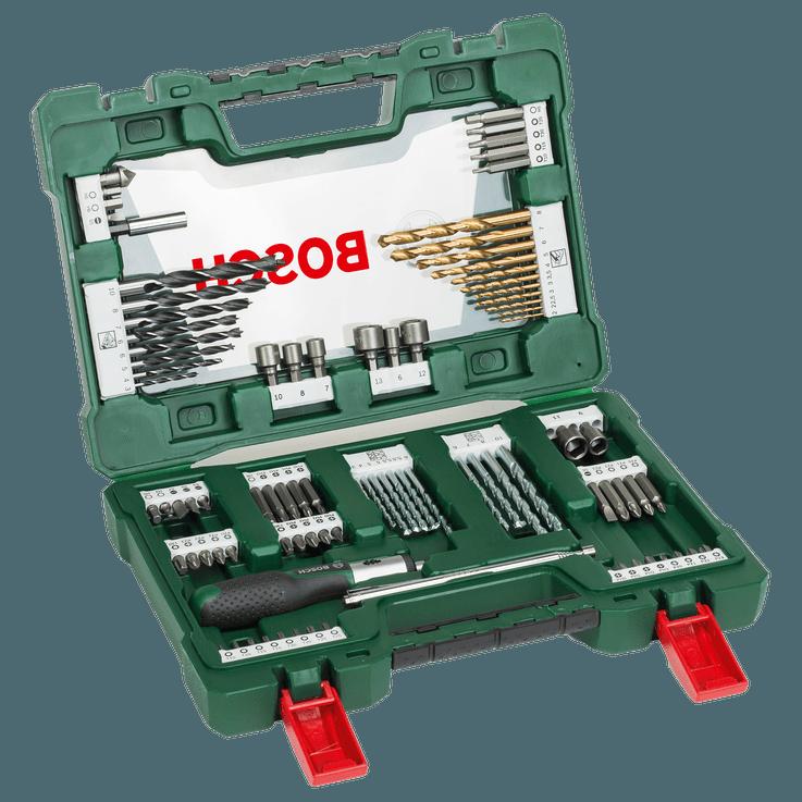 V-Line Bohrer‑ und Schrauberbit-Set Titan, 91-teilig, mit Ratsche und Magnet