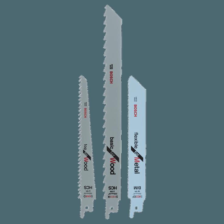 Reciprocating saw blade set S 922 EF, S 644 D, S 1111 K