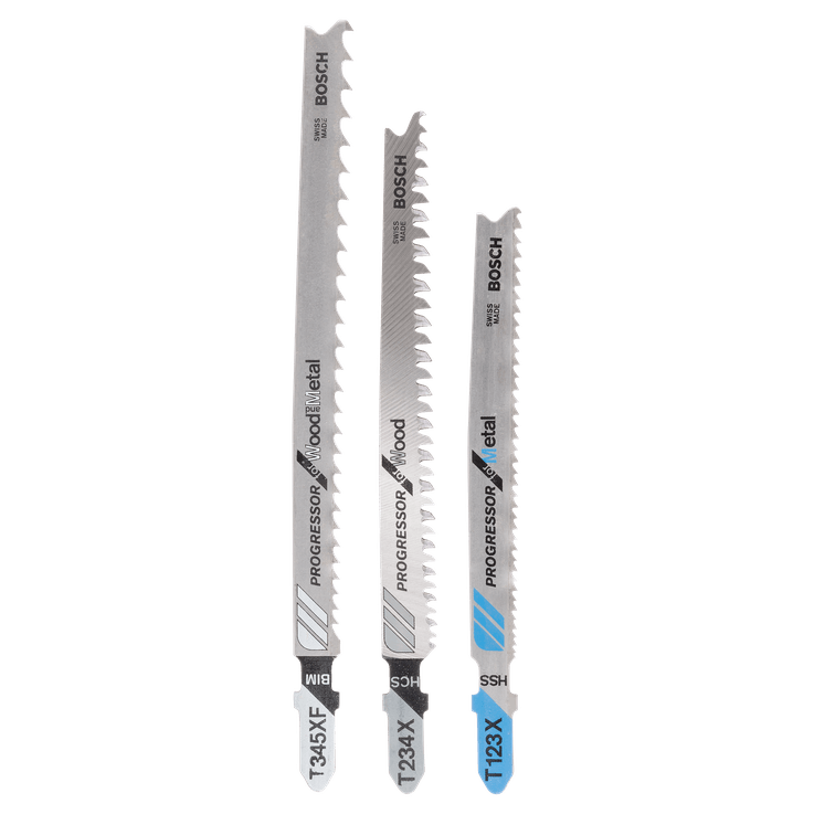 3-piece jigsaw blade set Progressor T-shank
