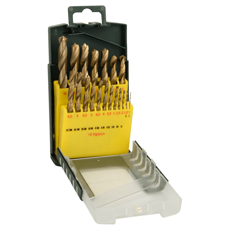 Metal Drill Bit HSS-TiN, DIN 338 Set 19 Pieces