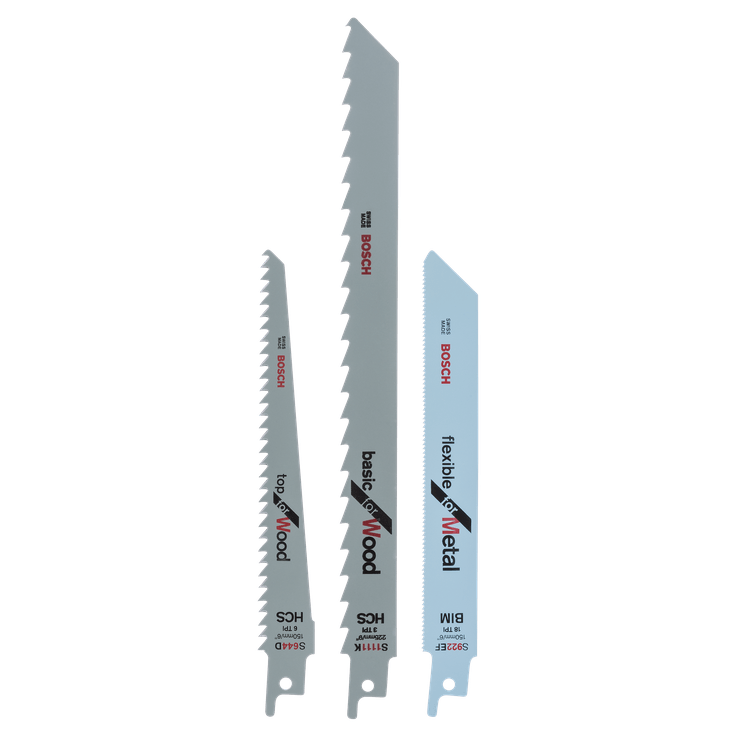 Reciprocating saw blade set S 922 EF, S 644 D, S 1111 K
