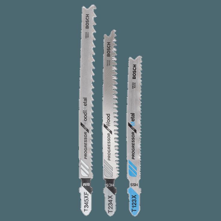 3-osainen Progressor-pistosahanteräsarja, T-kiinnitys