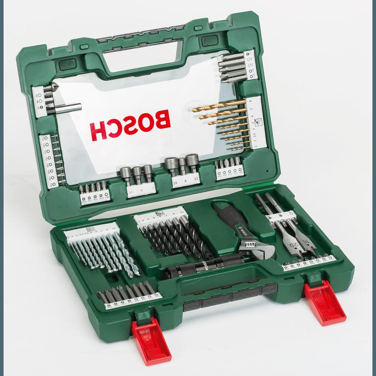 V-Line fúrószár- és csavarbitkészlet, titánbevonatos, 83 részes, LED-es zseblámpával és állítható csavarkulccsal