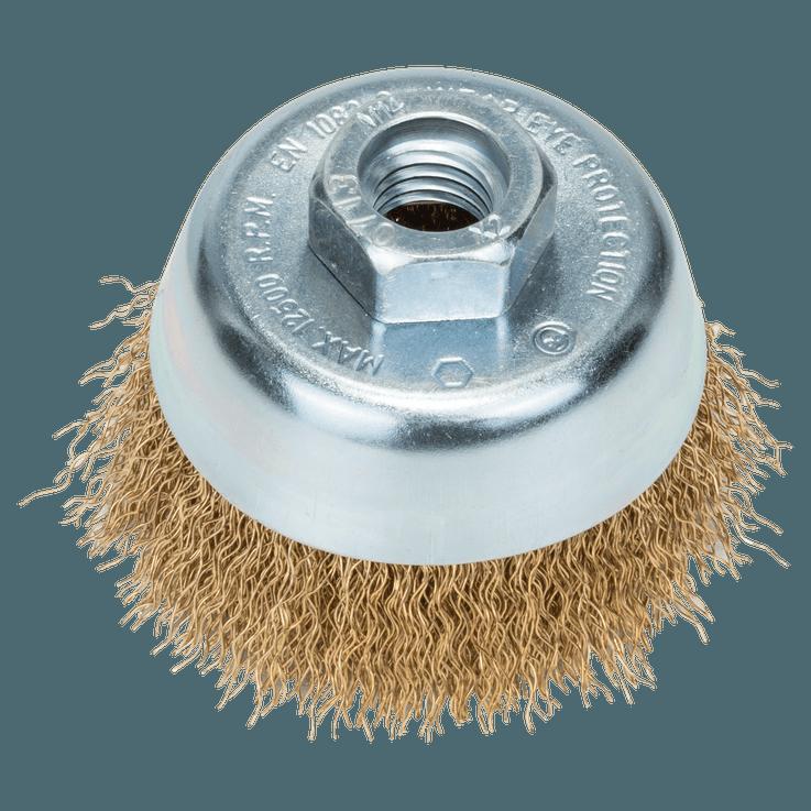 Spazzola a tazza con filo metallico ondulato in acciaio inox