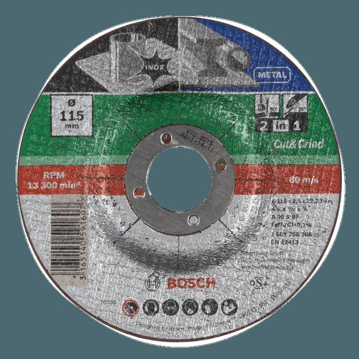 Doorslijp- en afbraamschijf voor metaal en rvs 2-in-1