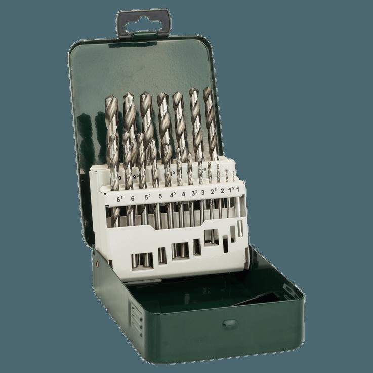 Metallbor HSS-G, DIN 338, sett med 19 deler
