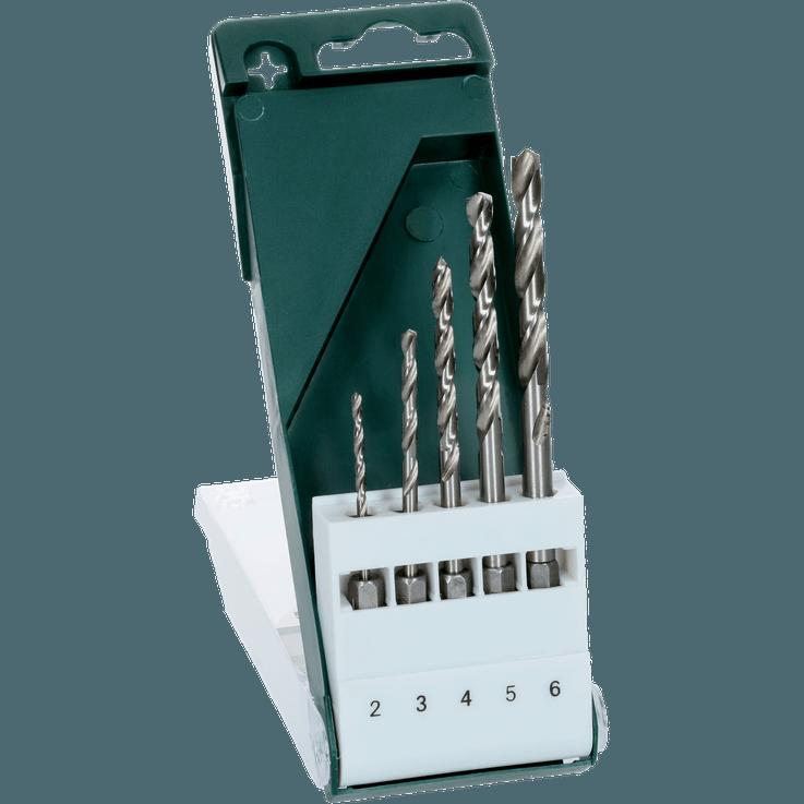 Metallbor HSS-G, sett med 5 deler, sekskantskaft
