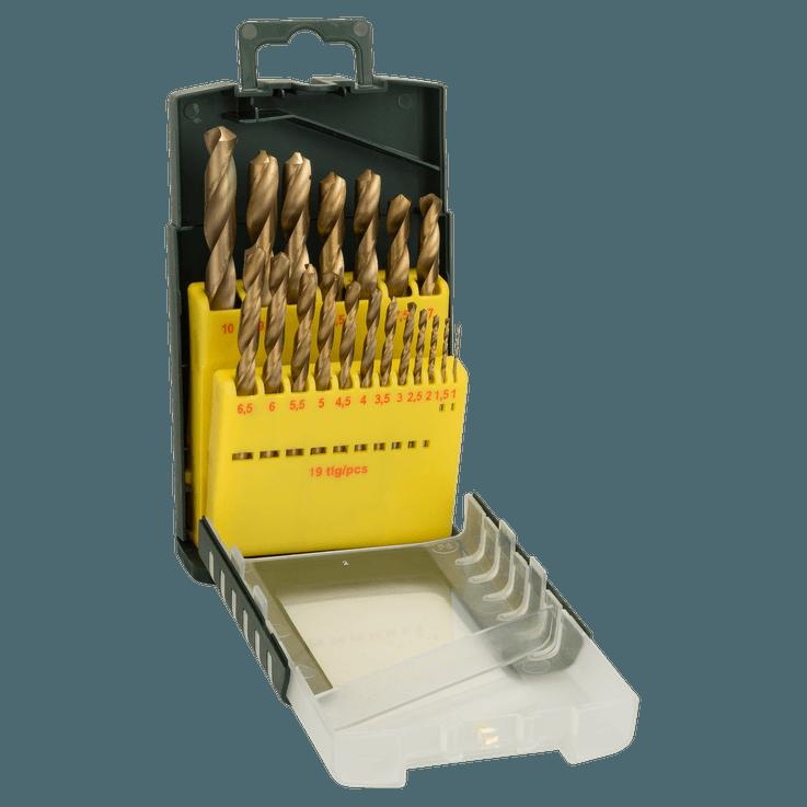 Metallbor HSS-TiN, DIN 338, sett med 19 deler