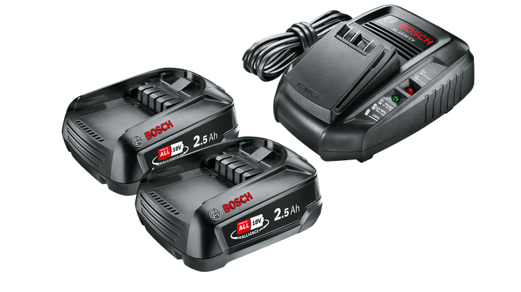 Zestaw startowy 18 V (2 akumulatory 2,5 Ah + AL 1830 CV)