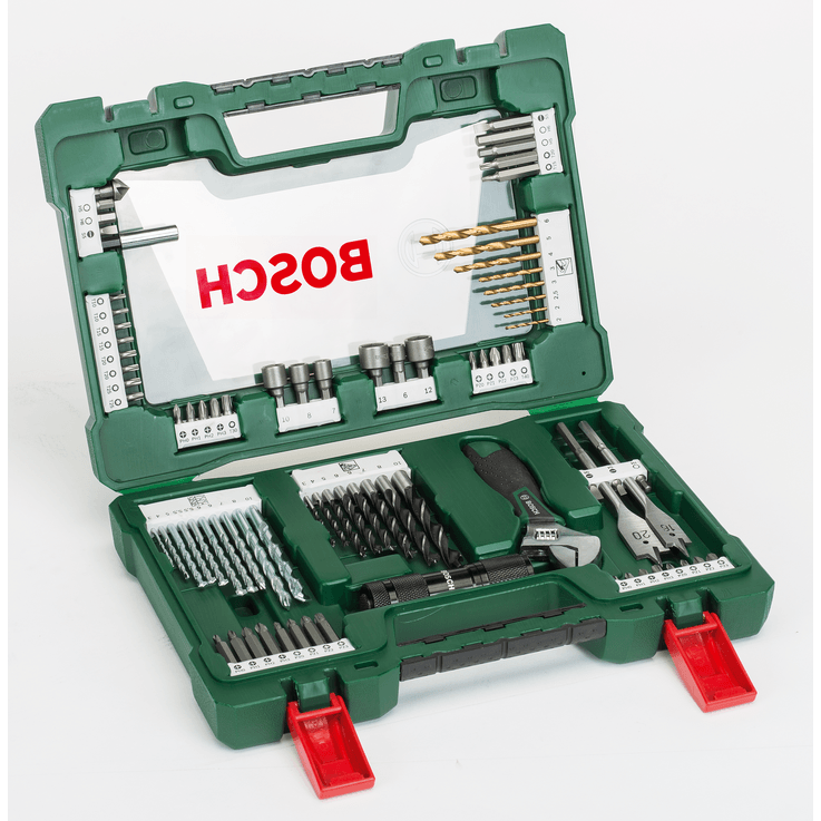 Zestaw wierteł i bitów do wkrętarek V-Line z latarką LED i regulowanym kluczem do nakrętek (83 szt.)