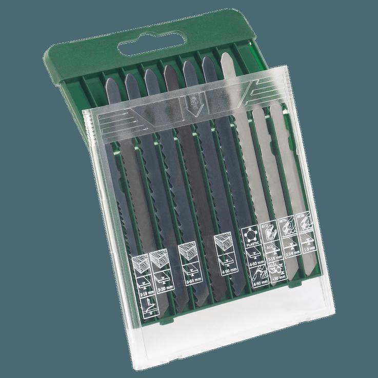 Caixa de lâminas de serra, 10 peças, madeira/metal/plástico (encabadouro em T)