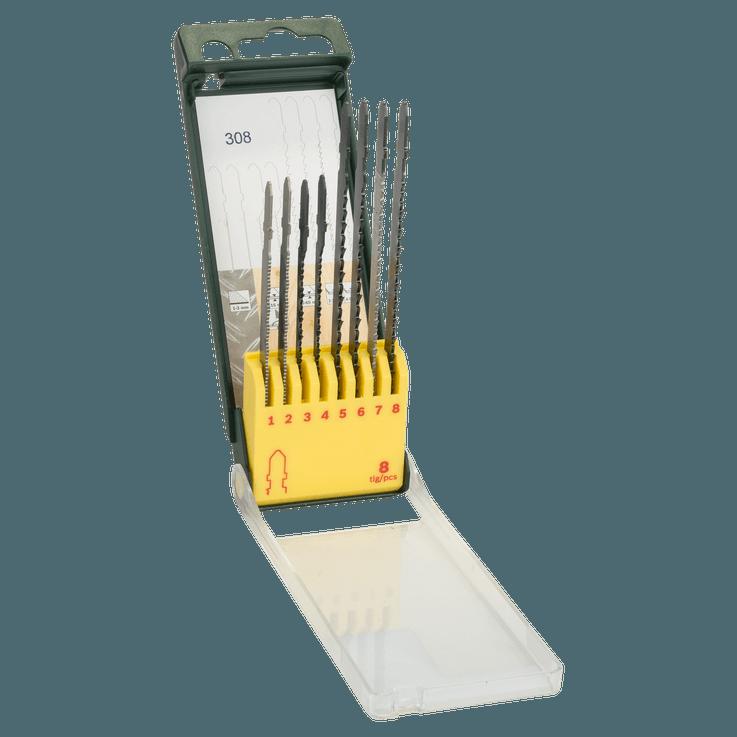 Caixa de lâminas de serra, 8 peças, madeira/metal/plástico (encabadouro em T)