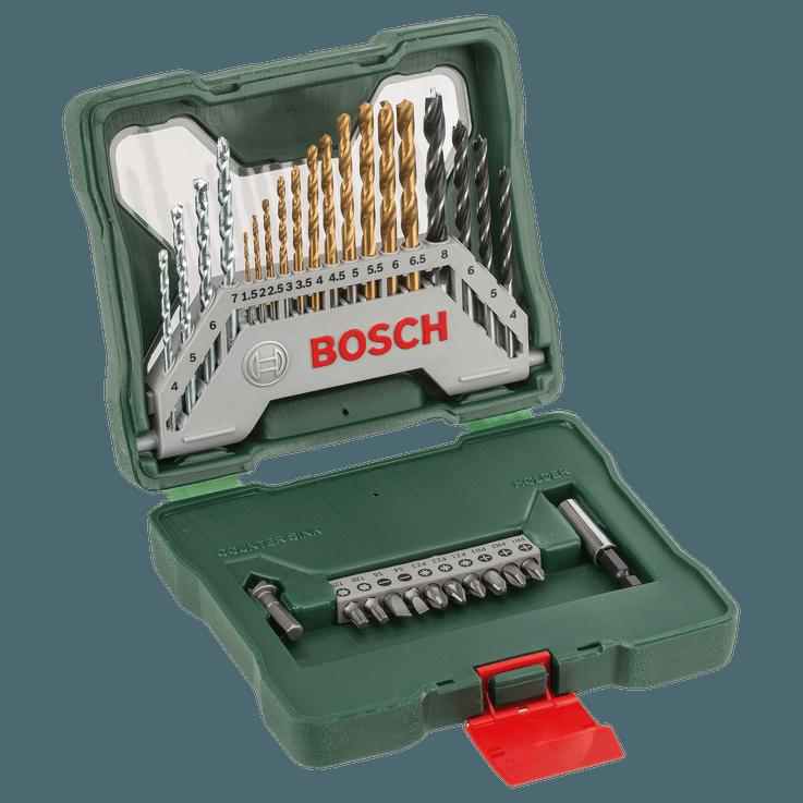 Conjunto de pontas de aparafusar e brocas em titânio X-Line, 30 peças