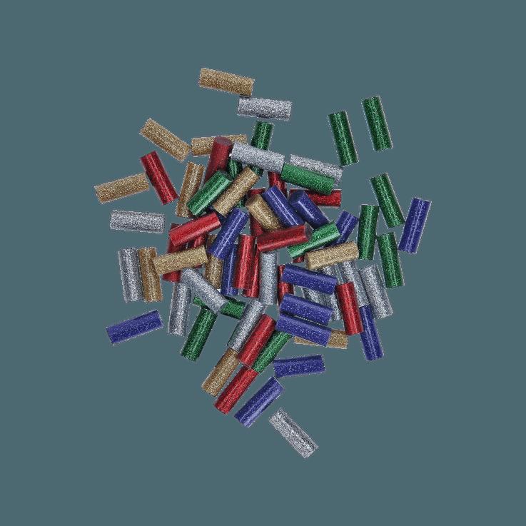 Gluey štapići, kombinacija šljokica